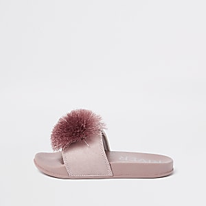 Girls pink pom pom sliders