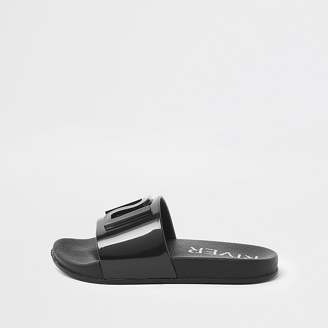 Girls black RI jelly sliders