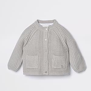 Cardigan en maille épaisse grise pour bébé