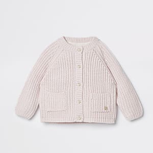 Baby pink knit cardigan
