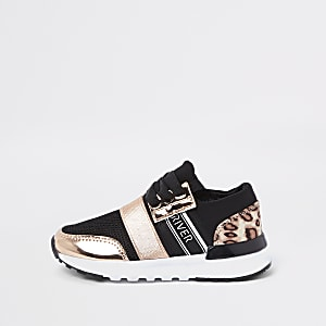 Mini girls gold leopard print runner sneakers