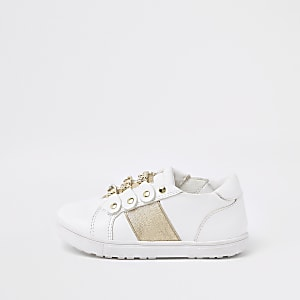 Mini girls white gold chain plimsolls