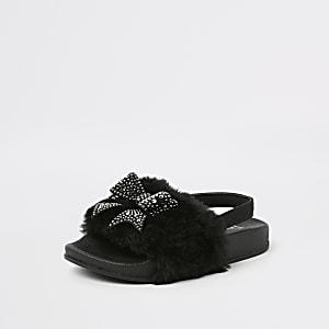 Claquettes noires avec fausse fourrure et nœud mini fille