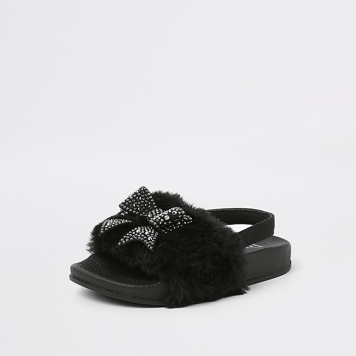 Mini girls black faux fur bow sliders