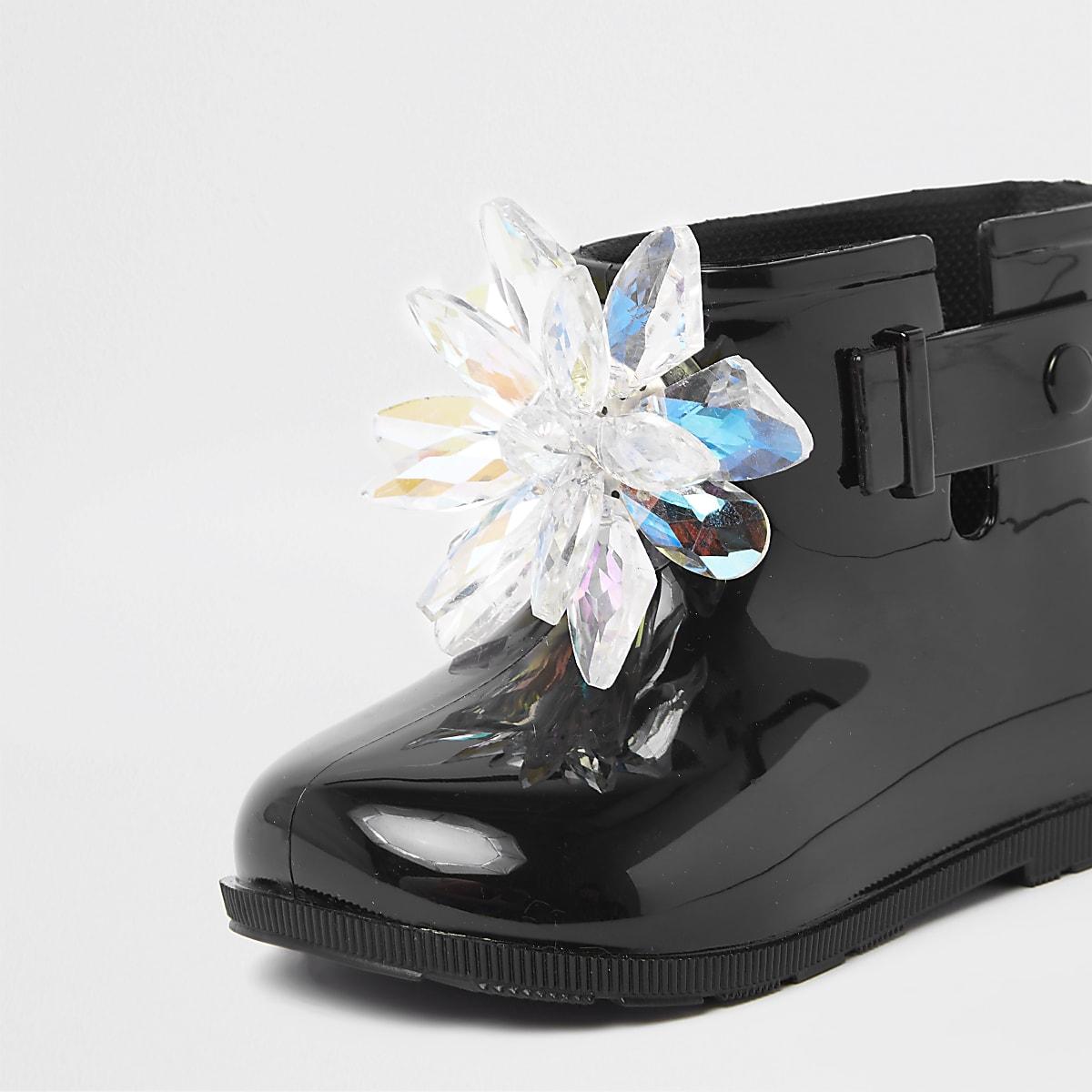 6f92a796dafde Bottes de pluie noires vernies avec ornement 3D mini fille - Bottes ...