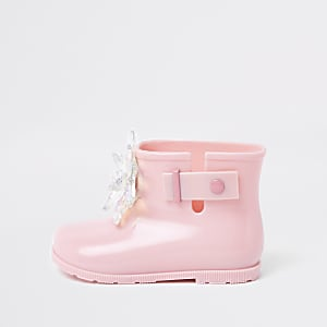 Mini girls pink patent 3D embellished rubber boots