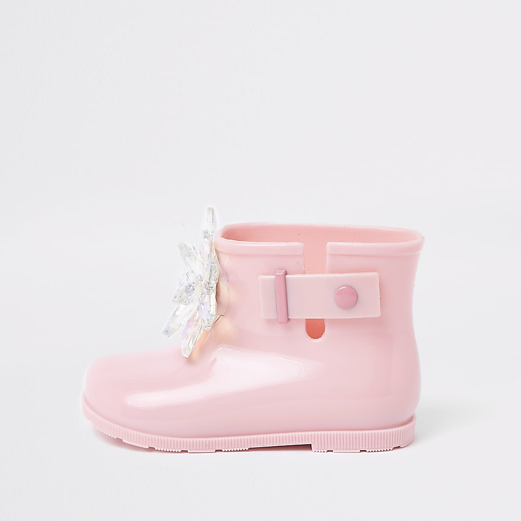 Mini girls pink patent 3D embellished wellies
