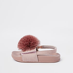 00df1746c788 Mini girls red caged jelly sandals. Cream  Red · Mini girls pink pom pom  sliders