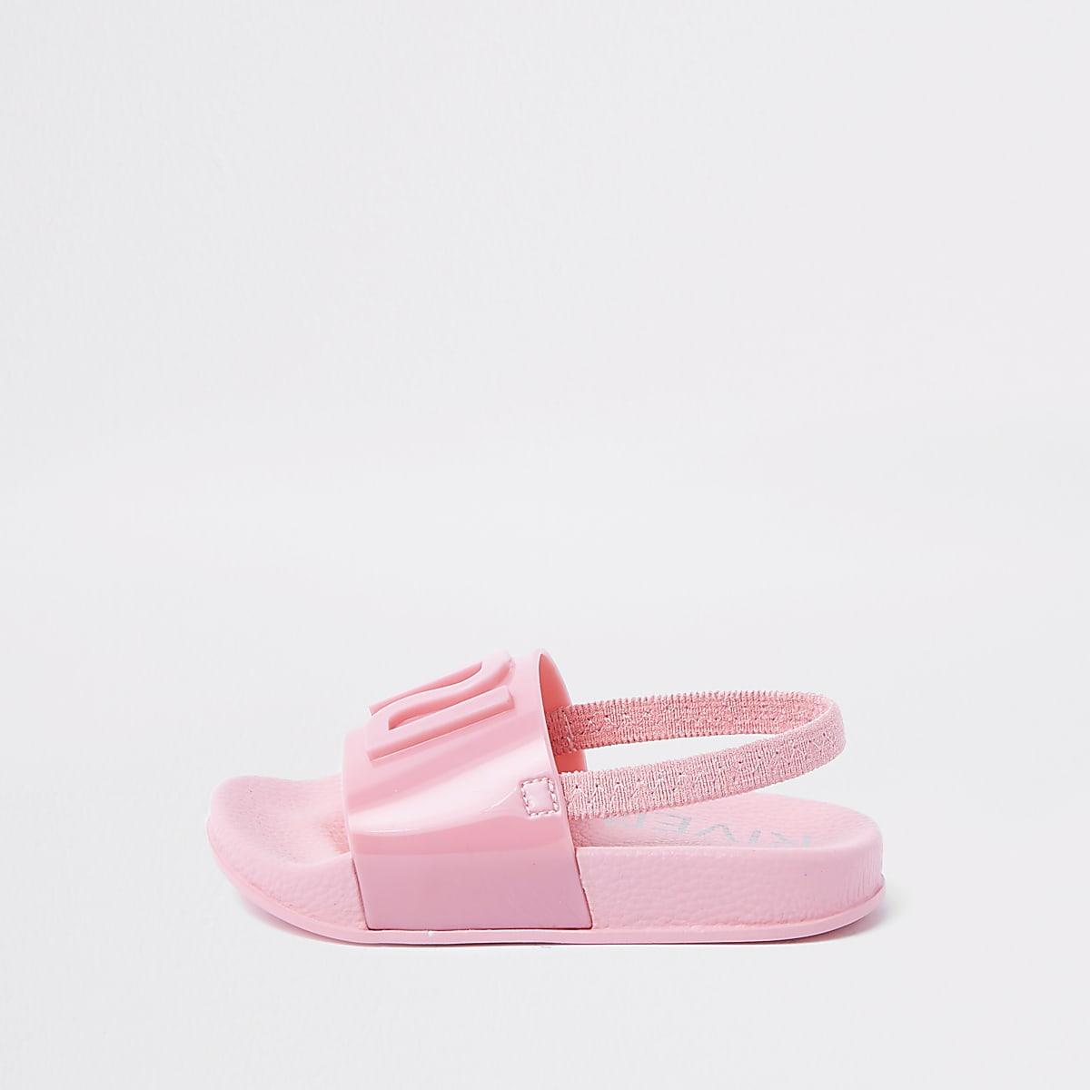 2f97f33f22a5e Claquettes en plastique roses à logo RI mini fille - Sandales pour ...