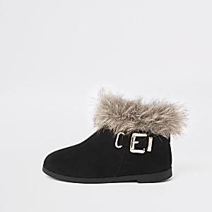 Mini girls black faux fur trim buckle boots