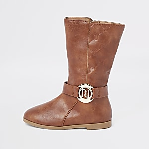 Mini girls tan RI monogram calf boots
