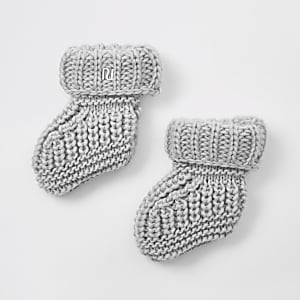 Grijze gebreide sokken voor baby's