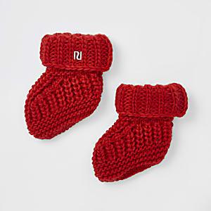 Bottines en maille rouges bébé