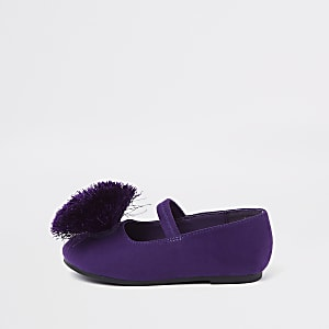 Mini girls purple pom pom ballet flats