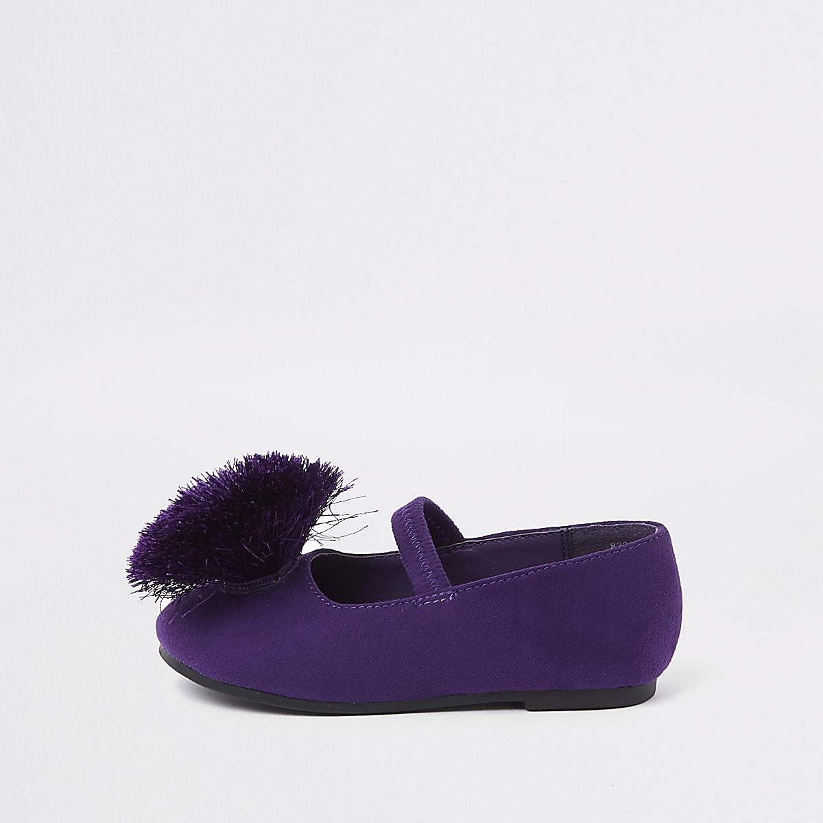 Mini girls purple pom pom ballerina pumps