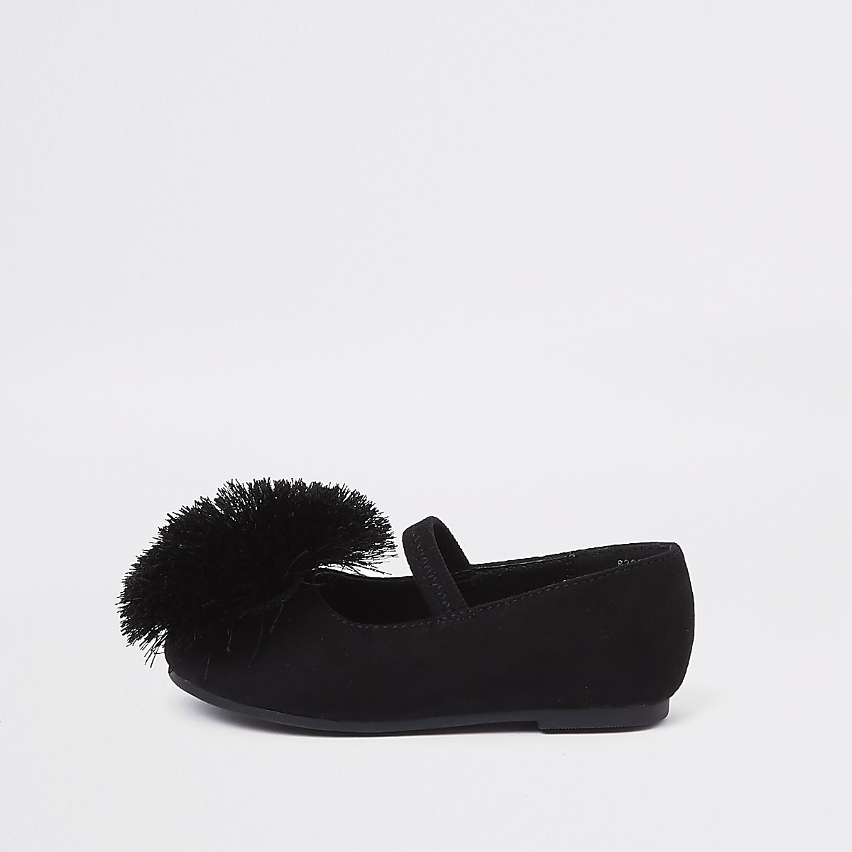3a5661c14e2 Mini girls black pom pom ballerina pumps - Baby Girls Shoes - Baby Girls  Shoes   Boots - Mini Girls - girls