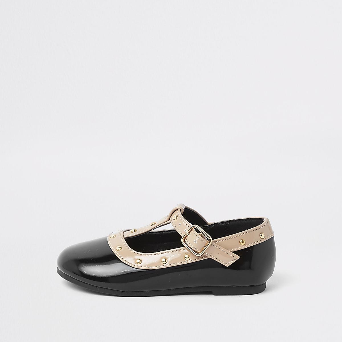 Chaussures Pour Cloutées Ballerines Bébé Noires Mini Fille yf7gI6vmYb
