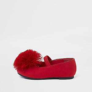Mini girls red pom pom ballerina pumps