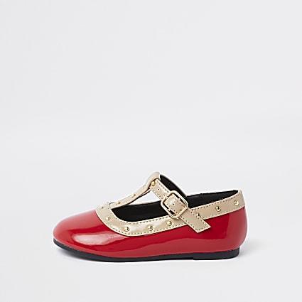 Mini girls red studded ballerina pumps