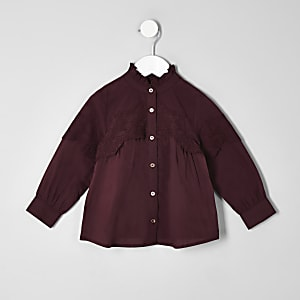 Mini girls purple broiderie swing shirt