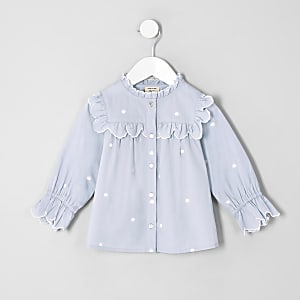 Mini girls blue poplin polka dot swing top