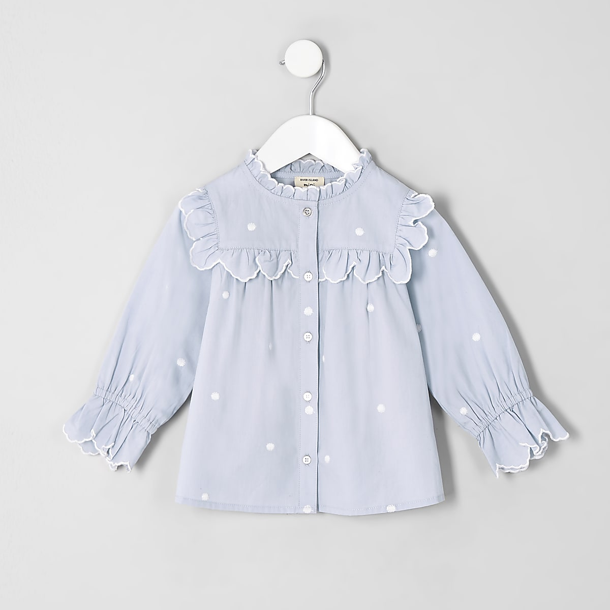 Mini girls blue poplin polka dot swing top