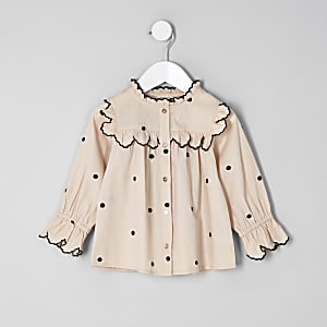 Mini girls cream poplin polka dot swing shirt