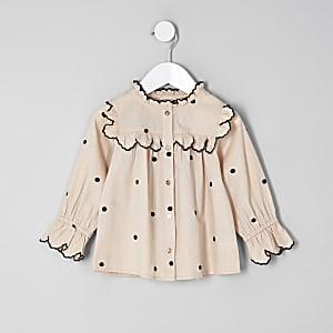 Mini - Cremekleurig poplin swingoverhemd met stippen voor meisjes