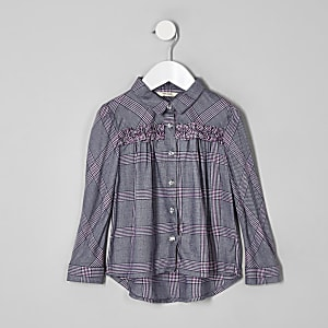 Mini girls purple ruffle check shirt