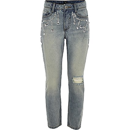 Girls blue Bella embellished denim jeans