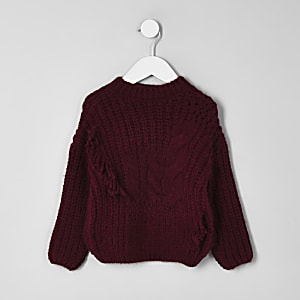 Mini girls dark red cable knit sweater