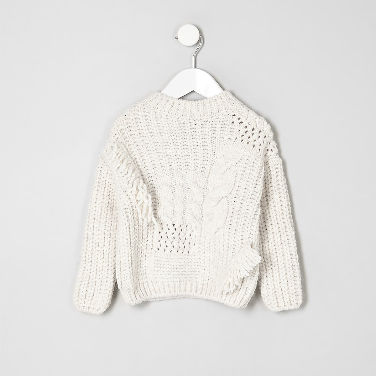 Mini girls cream mixed cable knit jumper