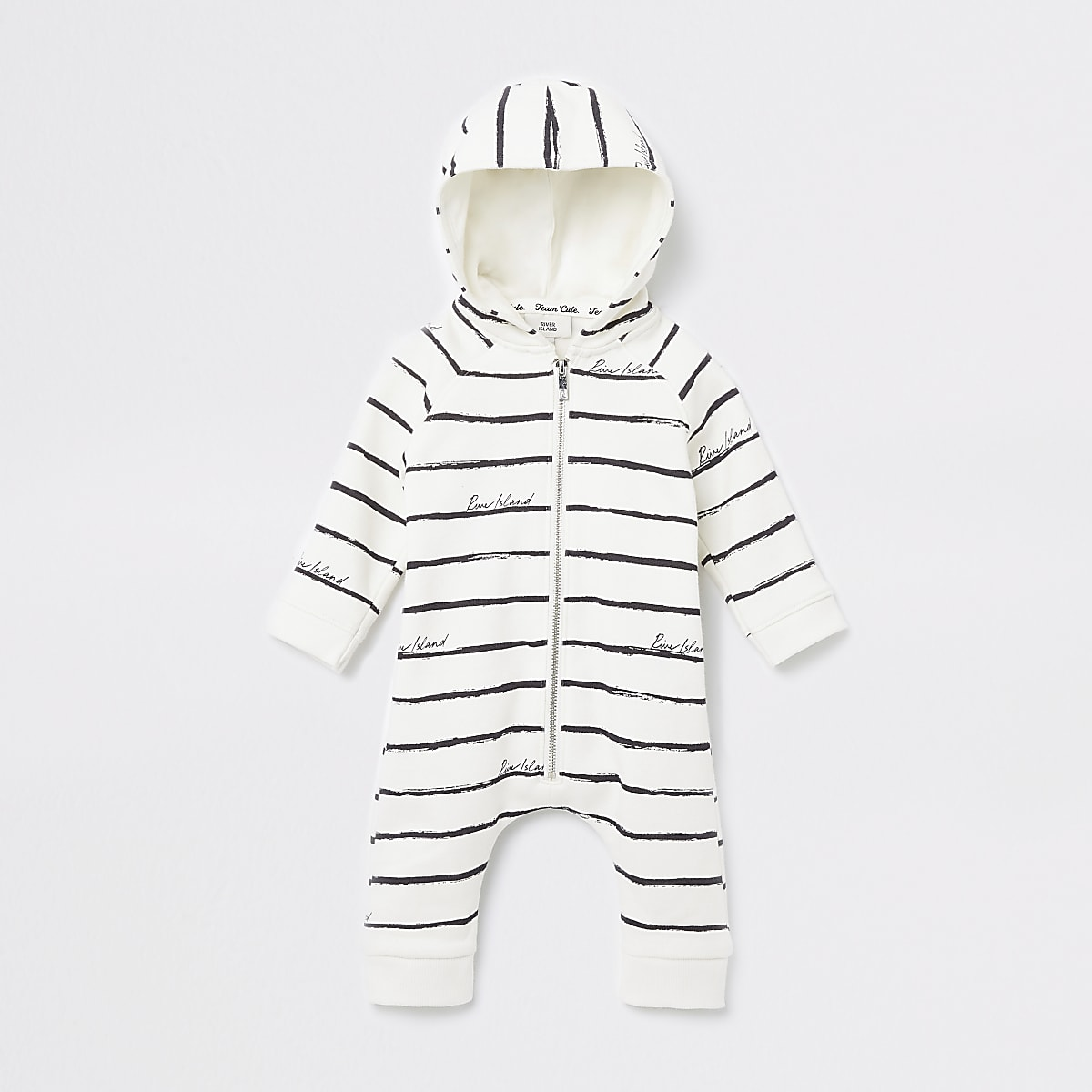 Baby cream stripe hooded all in one