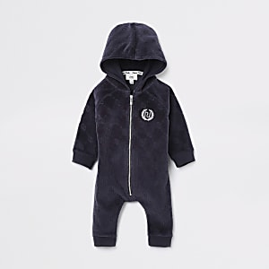 Baby navy RI logo zip-up romper