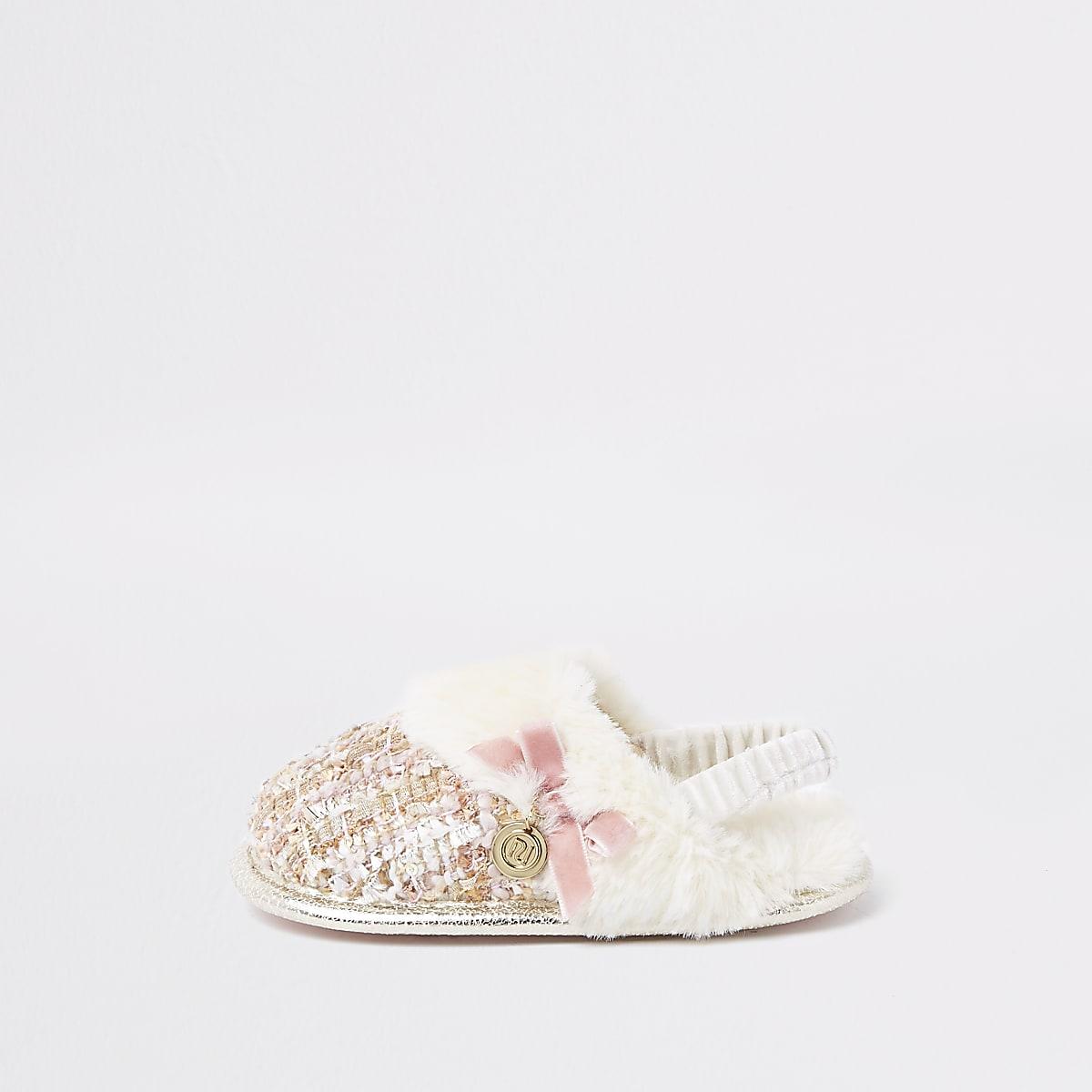 Mini girls cream boucle faux fur trim slipper