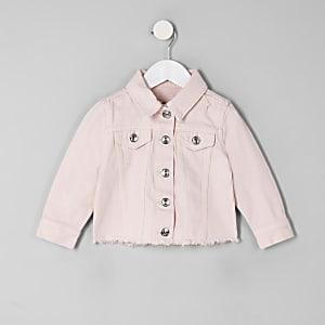 Mini - Roze denim jack met gerafelde zoom voor meisjes