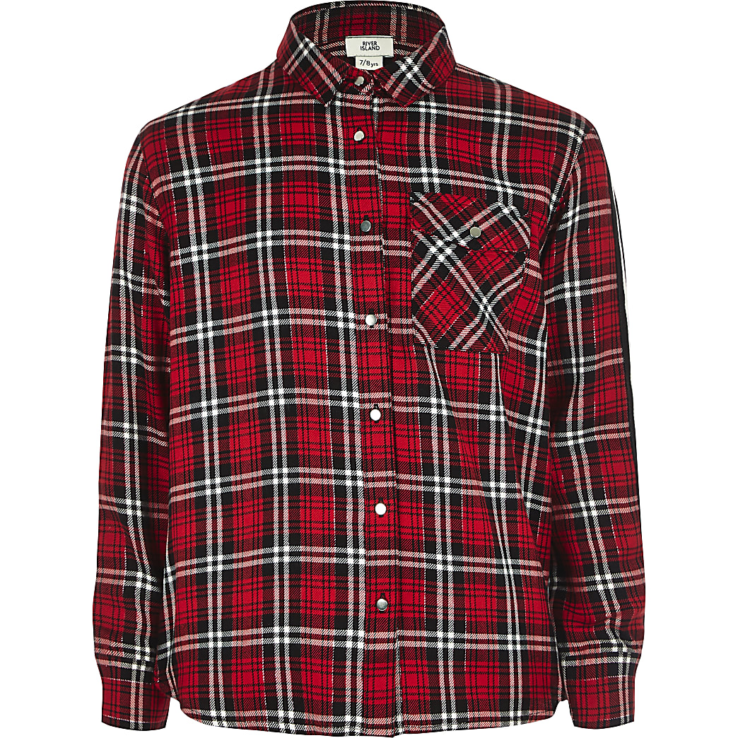 Girls red check tape side shirt