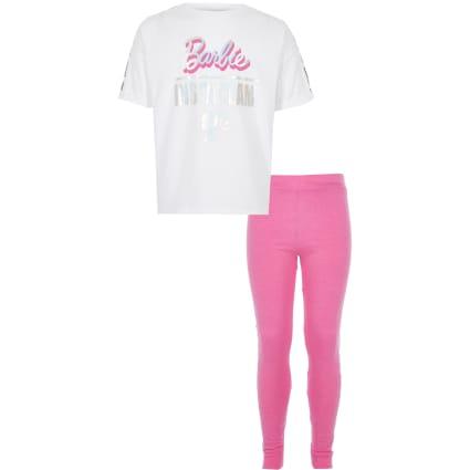Girls pink Barbie pyjama set