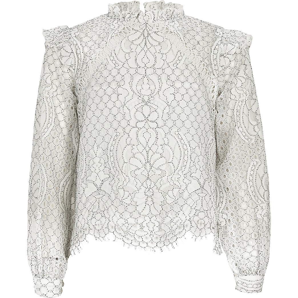 Girls white lace high neck long sleeve top