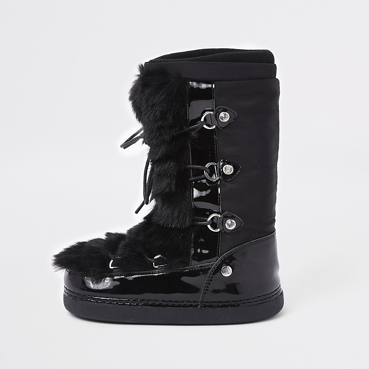 Girls black faux fur trim snow boots