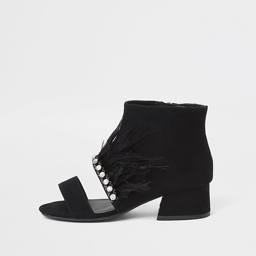 Girls black diamante trim feather shoe boots
