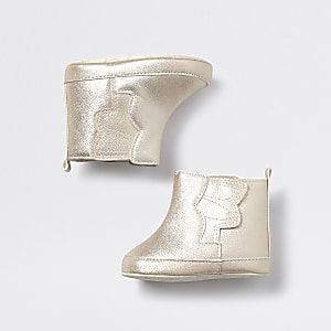 Baby gold tone angel wing booties