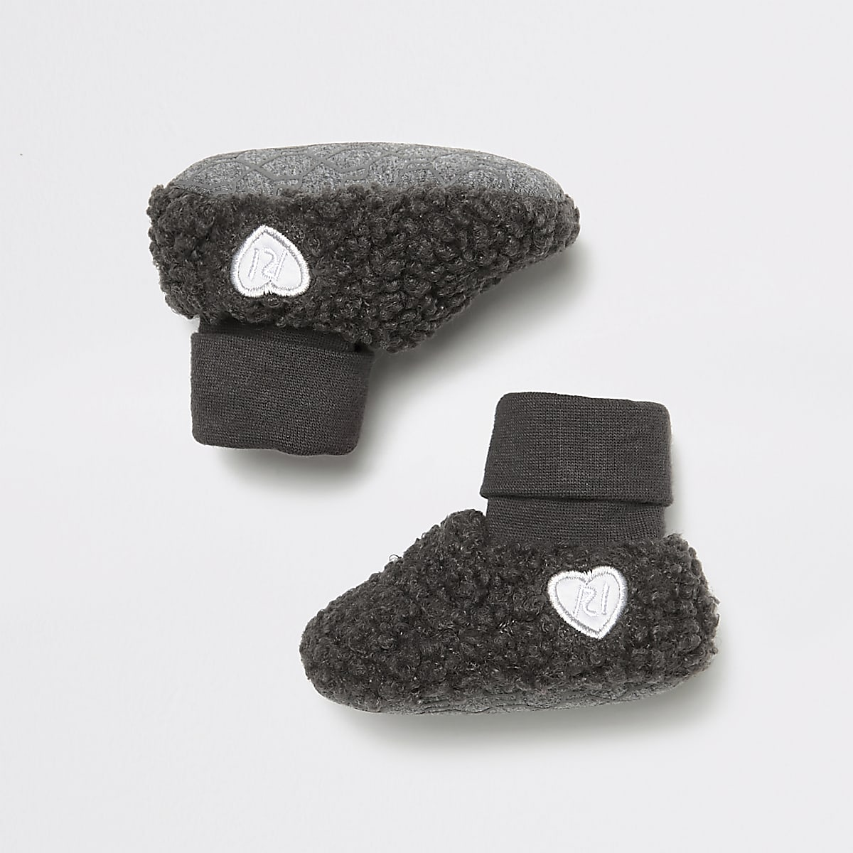Baby grey marl borg booties