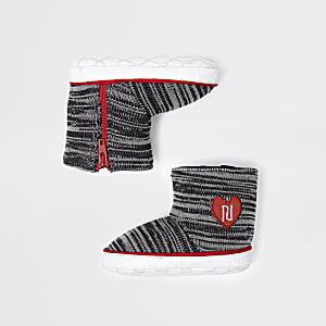RI – Bottes grises à chaussette en maille pour bébé