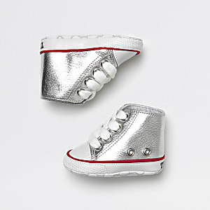 Baby silver metallic hi top sneakers