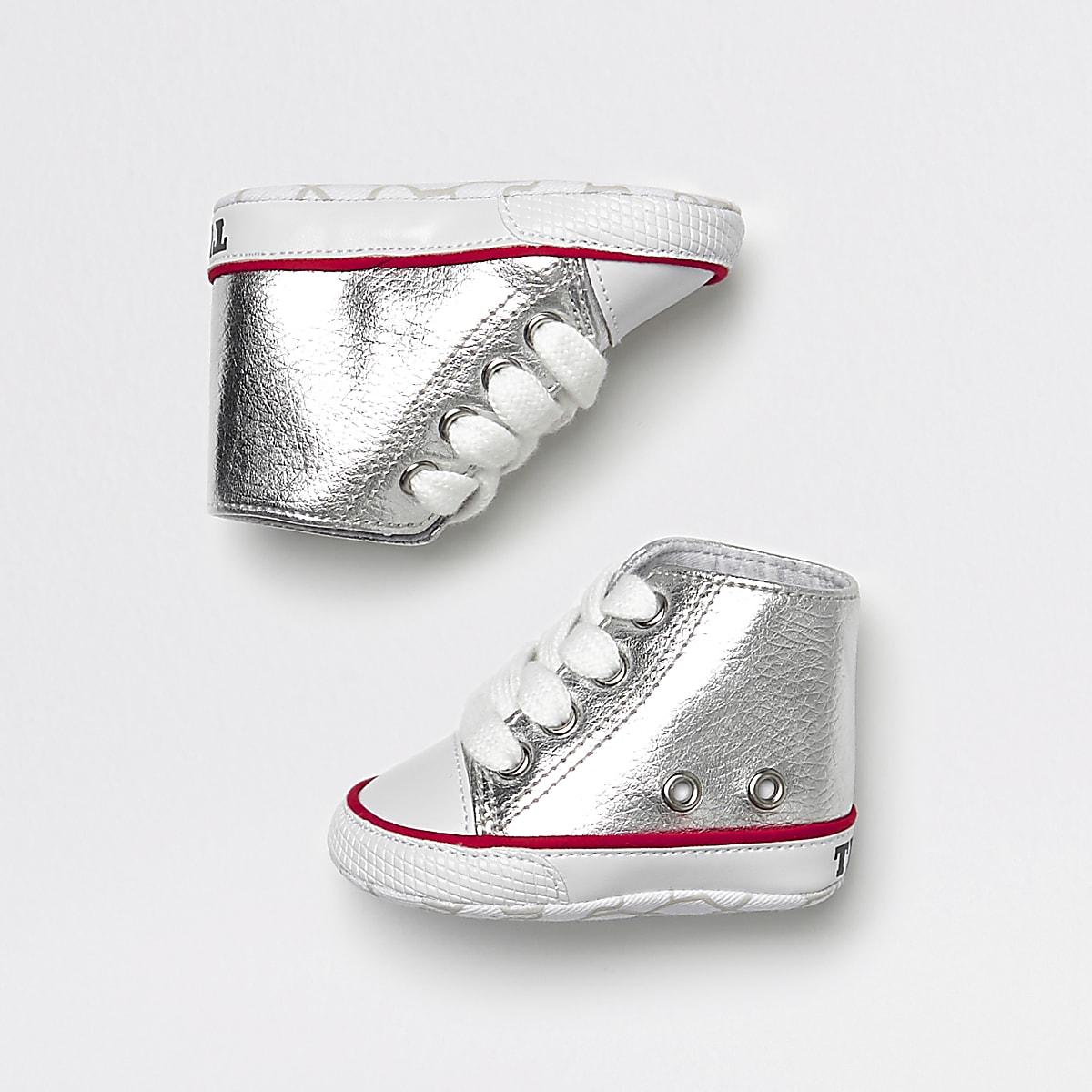 Baby silver metallic hi top trainers