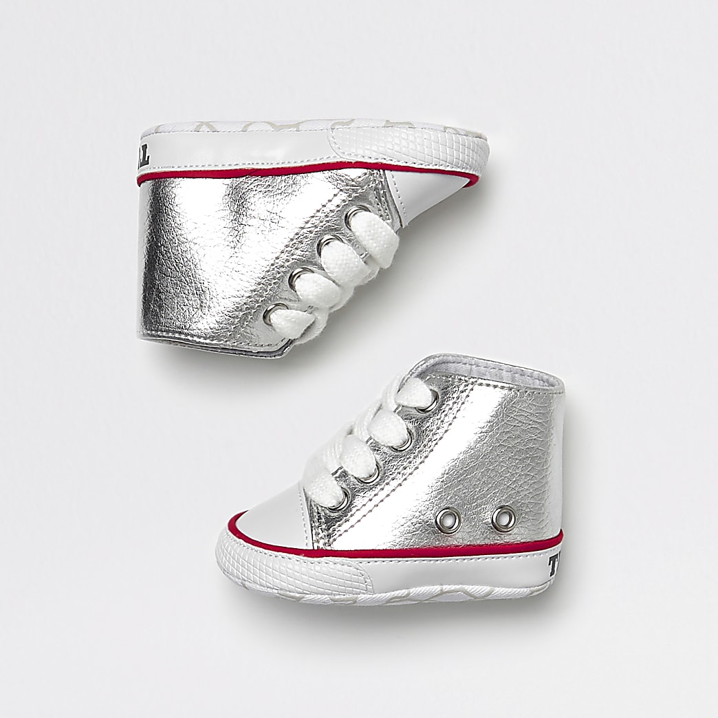 Baby silver metallic hi top trainers