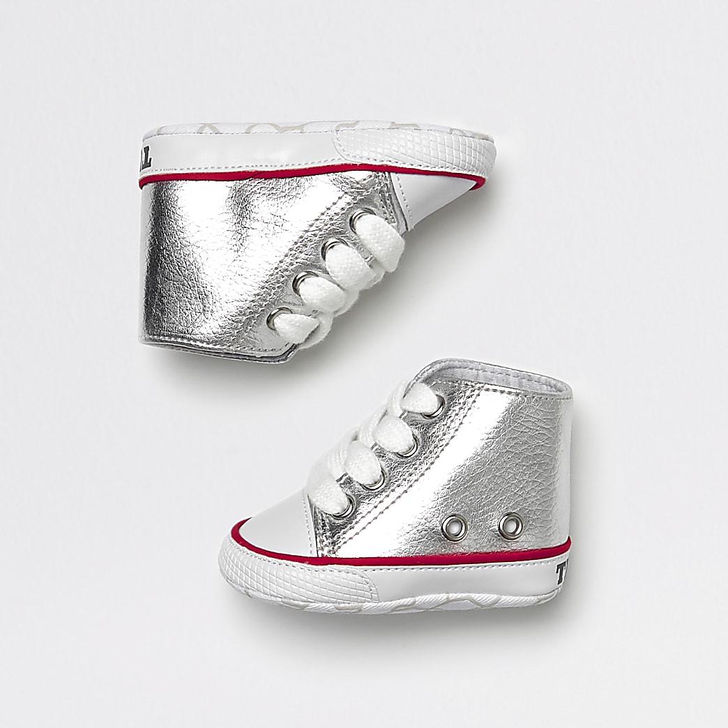 Hoge zilver metallic sneakers voor baby's