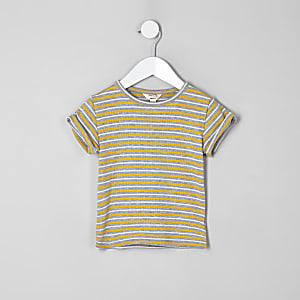 T-shirt rayé jaune pour mini fille