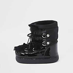 Mini - Zwarte sneeuwlaarzen met rand van imitatiebont voor meisjes